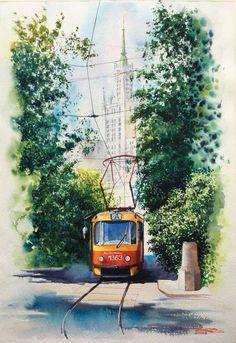 Landscape City Art Artists Ideas For 2019 Watercolor Architecture, Watercolor Landscape, Landscape Paintings, Watercolor Sketch, Watercolor Illustration, Watercolour Painting, Stock Design, Composition Painting, City Sketch