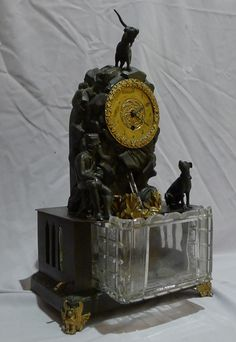 Antique automaton bronze mantel clock with moving water mechanism and ...