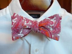 Bow Tie - Pink and Orange Paisley - Men's self tie by TrulySouthernTies on Etsy