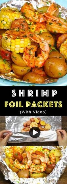 The Best Shrimp Boil with corn, potatoes and sausage - easily made on the grill or oven in foil packets. Perfect for a party! The Best Shrimp Boil with corn, potatoes and sausage - easily made on the grill or oven in foil packets. Perfect for a party! Shrimp Foil Packets Oven, Steak Foil Packets, Shrimp Boil Foil Packs, Grilled Foil Packets, Foil Packet Dinners, Foil Pack Meals, Foil Dinners, Shrimp Boil In Oven, Potato Foil Packets