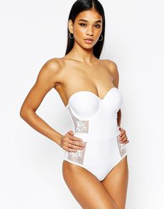 Wolf & Whistle | Wolf & Whistle Bustier Lace Swimsuit at ASOS