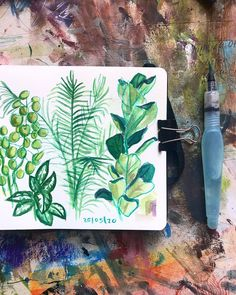 sketchbook page with plant sketches made with aquarelle & colored pencils :) #plantsketches #aquarelle #plants #plantmom #sketching #sketchbook #artjournal #artjournalling #artjournalinspo #sketchbooktour #artist #sketchingdaily #drawing #doodle #plantdoodles #plantlove #plantillustrations #artsy #art Sketchbook Tour, Moleskine Sketchbook, Sketchbook Pages, Art Journal Pages, Art Journals, Sketchbooks, Plant Sketches, Colored Pencils, Sketching