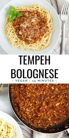 This vegan Tempeh Bolognese can be made in 15 minutes! It's quick, easy, and delicious! | ElephantasticVegan.com #vegan #tempeh #bolognese Delicious Vegan Recipes, Raw Food Recipes, Healthy Recipes, Vegan Dishes, Vegan Meals, Vegan Food, Vegan Vegetarian, Vegetarian Recipes, Bolognese Recipe