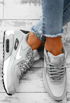 Nike Air Max 90 Grey Trainers - - - Schuhe - Best Shoes World Sneakers Mode, Best Sneakers, White Sneakers, Sneakers Fashion, Burgundy Sneakers, Shoes Sneakers, Shoes Trainers Nike, Cool Womens Sneakers, Womens Nike Trainers
