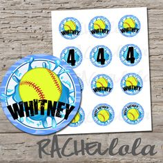 Softball Pool Party 2 inch cupcake toppers, stickers, label, birthday party