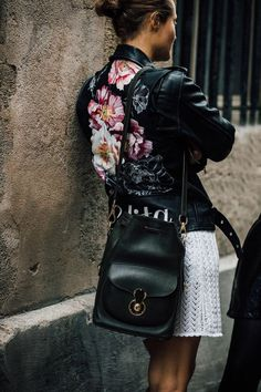 Street style floral leather jacket
