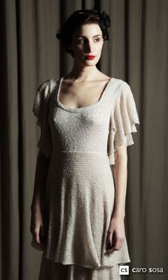 vestido campana largo,botone con seda y lurex.