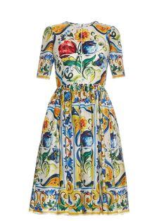 Dolce & Gabbana Majolica-print silk-organza midi dress