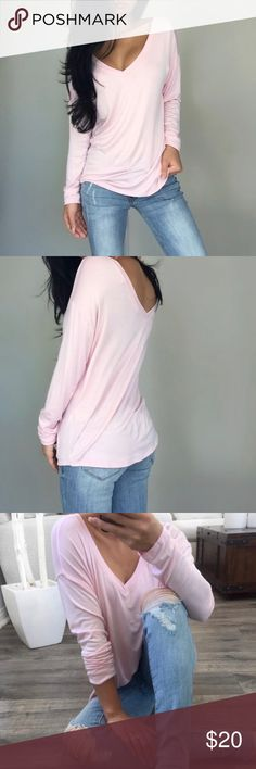 Staple Pink Wide V Long Sleeve / Small / Reposh Reposh from @itselaine. Photos 1-4 are hers & those photo/modeling credits go to her💖. Last 3 pics are mine to show current condition. Pic 4 shows front, 5 is the back. Worn one time and washed. No rips, stains, holes, odors, etc. This listing is for the light pink version of this top. I'm also reposhing the Ivory one. Fits true to size. My photos (the last 3) show exact current condition. Come from a smoke-free environment. PLEASE ask any…