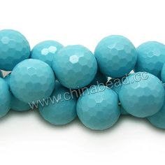 Gemstone Beads, Imit. Blue Turquoise, Faceted round, Approx 18mm, Hole: Approx 1.2mm, 22pcs per strand, Sold by strands