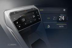 Volkswagen concept console | A nice tight sketch that appears out of a dark gradient background which doubles as the colour for a UI front on image, and execllent composition idea, caisdesign.com