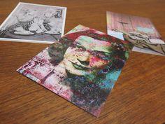 """Postkarten Holger Zimmermann, vorne: """"P.U.C. XXXIX"""" 2014, Pigmentdruck auf Leinwand, 150 x 100 cm"""