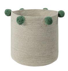 Nursery Design & Decor - Machine Washable Pom Pom storage basket in Green. This practical, whimsical basket offers a stylish storage option. Lorena Canals Rugs, Washable Rugs, Project Nursery, Nursery Ideas, Nursery Design, Storage Baskets, Extra Storage, Lana, Hand Sewing