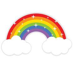 Sparkling rainbow SVG file and clipart Little Pony Birthday Party, Rainbow Birthday, Unicorn Birthday, Unicorn Party, Happy Birthday, Rainbow Crafts, Rainbow Art, Rainbow Cartoon, Rainbow Clipart
