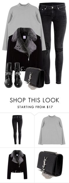 """""""Sin título #1656"""" by camila-echi ❤ liked on Polyvore featuring H&M, La Bête, Yves Saint Laurent and Casadei"""
