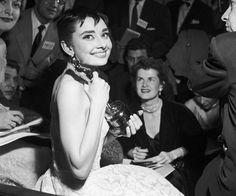 "Audrey Hepburn winning her Oscar for ""Roman Holiday"""