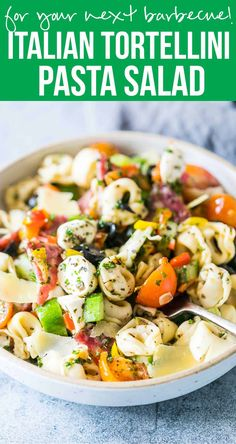 Italian Antipasto Tortellini Pasta Salad is the easiest, cold pasta salad that can be made ahead for picnics, barbecues and family lunches! Also get the recipe for homemade italian salad dressing.  via @my_foodstory