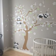 Pandas and Cherry Blossom Tree, Panda Decal, Panda Vinyl Wall Decal for Nursery, Kids, Childrens Room 029