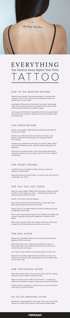 Thinking about getting your first tattoo? Any ink enthusiast will tell you that there are a lot of rules to consider — it's not something you do on a whim. Getting the exact artwork you want is a process that starts long before you arrive at the parlor. So we've created this comprehensive calendar. It includes everything you need to know: tips for finding the right artist, safety measures to follow, and aftercare instructions.: