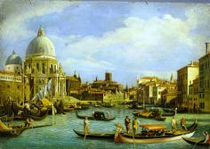 Reproduction of a painting by Canaletto the second half 'of the eighteenth, view from Palazzo Balbi, oilio on canvas. The original is in the British Museum of London.