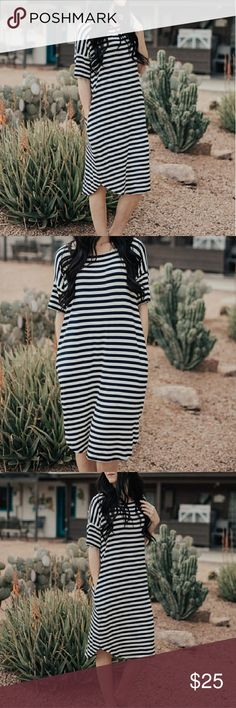Relaxed fit navy blue striped dress NWOT Please let me know if you have any questions. I would be happy to help. I welcome all reasonable offers. Thank you for checking out my closet! Happy Poshing :) from boutique Forever 21 Dresses Midi