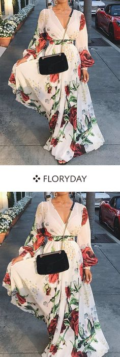 Floral ruffles V-neckline maxi X-line dress, floral style, fashion, preorder. Source by floryday dresses muslim Cute Outfits With Jeans, Cute Outfits For School, Casual Fall Outfits, Leather Leggings Look, Ruffles, French Outfit, Types Of Skirts, Valentine's Day Outfit, Crop Top And Shorts