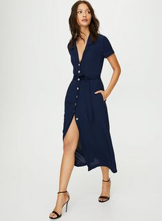 This is a vintage-style, button-front dress inspired by a traditional house dress. Recently redesigned for an even more flattering fit, it's made from drapey fabric with a pebbled texture. Midi Shirt Dress, Tie Dress, Wrap Dress, Belted Dress, Pretty Outfits, Pretty Dresses, Beautiful Dresses, Pretty Clothes, Comfy Dresses