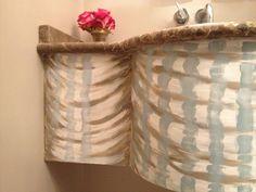 Fabric swag on powder room sink base. Gretchen howard