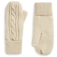 Junior BP. Cable Knit Mittens (2.065 ISK) ❤ liked on Polyvore featuring accessories, gloves, oatmeal, bp., mitten gloves, cable knit gloves and cable knit mittens