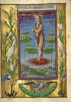 Gualenghi-d'Este Hours  Mary Magdalene Borne Aloft        Taddeo Crivelli  Italian, Ferrara, about 1469  Tempera colors, gold paint, gold leaf, and ink on parchment    4 1/4 x 3 1/8 in.  MS. LUDWIG IX 13, FOL. 190V