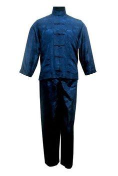 Vintage Navy Blue Chinese Men Satin Pajama Set Plus Size XXXL Pyjamas Suit Long Sleeve Shirt &Pants Trousers Sleepwear Nightwear Satin Pyjama Set, Satin Pajamas, Pyjamas, Blue Black White Gold, Navy Blue, Color Black, Chinese Men's Clothing, Kung Fu, Trouser Suits