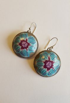 Turquoise flower earrings, jewelry under 50, blue and purple earrings, polymer clay design, romantic earrings, light blue earrings, flower