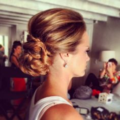 love the volume in this low braided bridal updo  ~  we ❤ this! moncheribridals.com