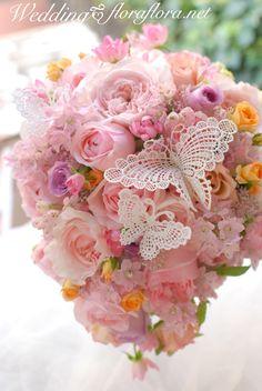 花時間ウェディングvol.4 幸せ運ぶ蝶々が舞うローズブーケ*東京*FLORAFLORA*precious flowers*TOKYO:ウェディングブーケ会場装花&フラワースクール*