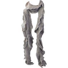 Kate Marie 'Uma' Ruffle Edge Fringe Knit Eternity Scarf (132.915 IDR) ❤ liked on Polyvore featuring accessories, scarves, fringe scarves, knit shawl, ruffled shawl, ruffled scarves and knit scarves