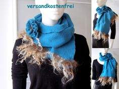 Schal, Filzschal aus Merinowolle und Seide, Handarbeit, Unikat, mit Brosche. Winter, Fashion, Brooch, Scarves, Silk, Felting, Handarbeit, Winter Time, Moda