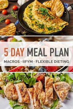 5 days worth of meals and snacks for the flexible diet. This IIFYM meal plan shows the macro amounts for each meal and daily totals. Includes shopping list.