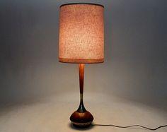 Mid Century Modern Tony Paul Lamp Westwood Industries Solid Walnut Wood Walnut Brass Lamp  Danish Modern Lamp Atomic Era Decor