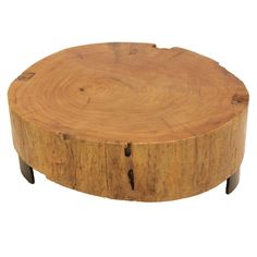 Salvaged solid Peroba wood block coffee table