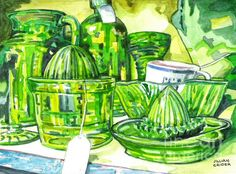 depression glass juicers and pitchers