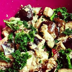 Warm Kale Salad with Sour Cream Roasted Eggplant