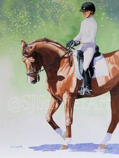 Dressage Shadows, 16x12 Watercolor equestrian art.  Original artwork by Susan Snyder | sjsnyderart.com