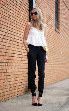 Spring Outfit // White Crop Top // Black Jogger Pants // Black Heels // Gold Box Clutch //