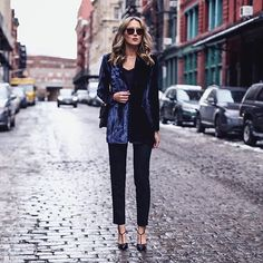 The lovely @maryorton has done it again! Our #SJPCollection Carrie is a vision on your feet. And that stunning velvet blazer makes the perfect cold-weather companion. Dressed to perfection, if you ask me. Available now at @zapposluxury, @amazonfashion and @bloomingdales. X, Sj