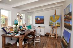 19 Artist's Studios and Workspace Interior Design Ideas- Great space for a craft room. Love that table!
