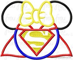 Super Hero Miss Mouse Head Machine Applique Embroidery Designs, multiple sizes including 4 inch