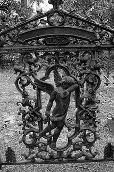 Iron gate in Watts Cemetery, Nevada County, Arkansas, manufactured by an unnamed Ohio company. There were numerous companies located in Ohio which supplied wrought iron to cemeteries across the country from the to the early Cemetery Monuments, Cemetery Statues, Cemetery Headstones, Old Cemeteries, Cemetery Art, Angel Statues, Graveyards, Cemetery Angels, Angels Among Us