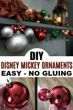 DIY Disney Ornaments: Easy Mickey Mouse Ornament Tutorial - Sand and Snow Looking for an easy and affordable way to make DIY Disney ornaments? Here's a super easy Mickey Mouse ornament tutorial with no gluing and super affordable items! Disney Christmas Decorations, Mickey Christmas, Diy Christmas Ornaments, Holiday Crafts, Disney Holidays, Homemade Christmas, Disney Christmas Crafts, Christmas Ideas, Easy Ornaments