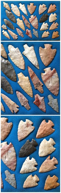 Pictures from a collection of ancient Native American arrowheads, knives, and…
