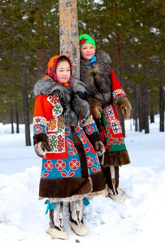 National clothing of the indigenous people of Siberia, Russia.